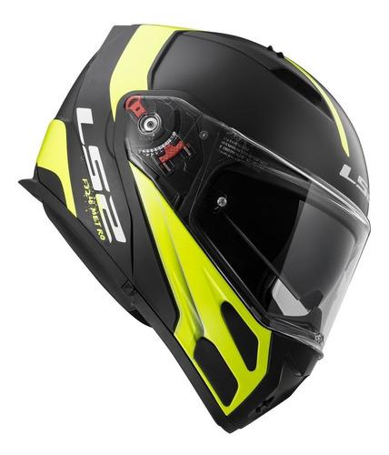 casco moto modular ls2 324 rapid evo negro amarillo yuhmak