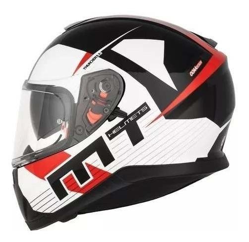 5167af48 Casco Moto Mt Thunder Ray Bco Rojo Mate Doble Visor Motoscba ...