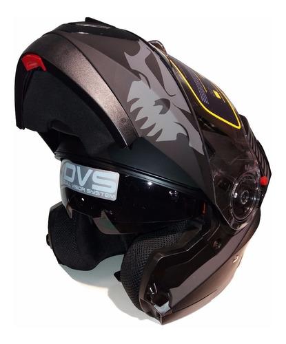 casco moto rebatible doble visor punto extremo xr650 negro !