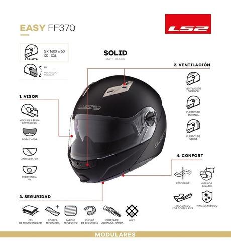 casco moto rebatible ls2 370 easy doble visor en devotobikes