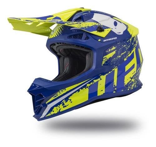 casco moto ufo cross enduro  intrepid azul ama solomototeam