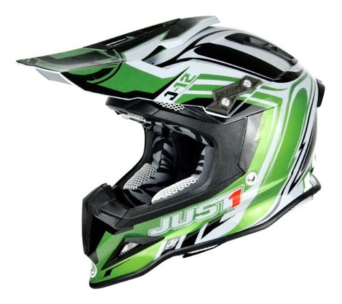 casco motocross enduro just1 j12 flame verde - negro