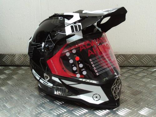 casco motocross ls2 mx 436 pioneer white black visor negro