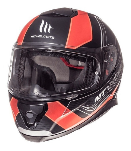 casco mt helmets thunder 3 sv trace negro con rojo mate