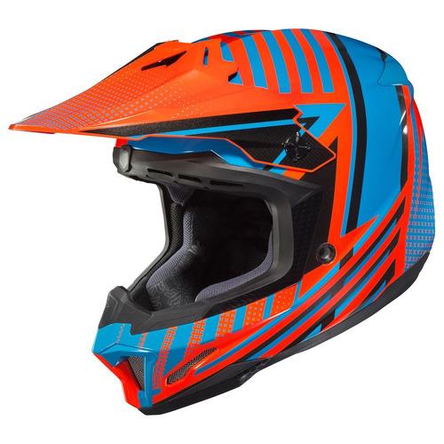casco mx todoterreno hjc cl-x7 hero azul/naranja lg
