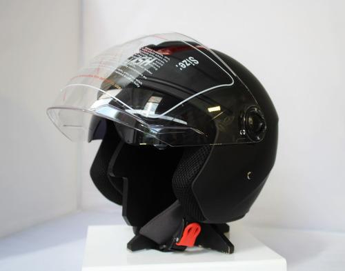 casco nash 3/4 abierto con visor y lentes con protección uv