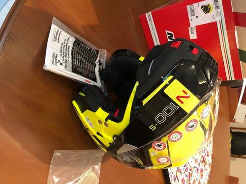casco nolan n100-5 hi-viz/negro, pinlock, xl (60-61cm)