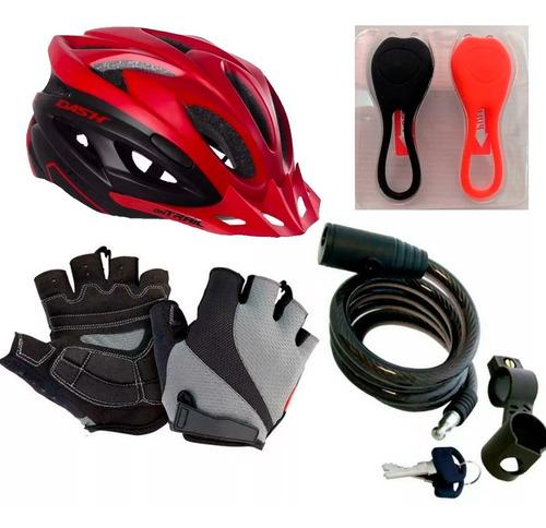 casco on trail dash bicicleta + guantes + luces gw +guaya gw