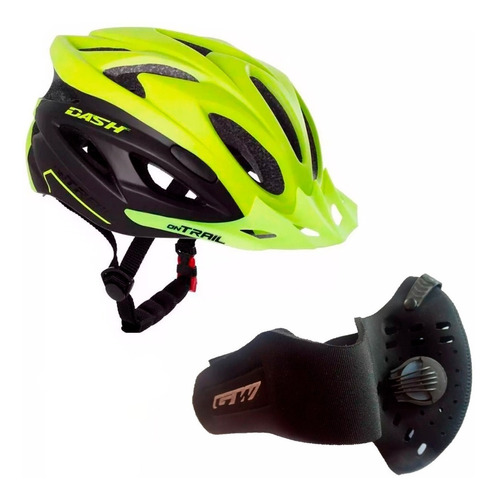 casco on trail dash bicicleta + mascara antipolución gw