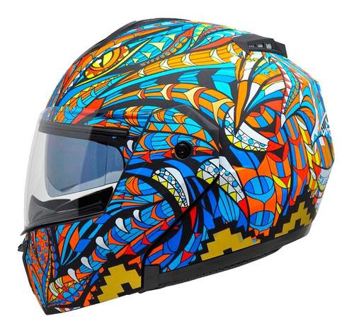 casco para moto abatible kov stealth alebrije azul dot