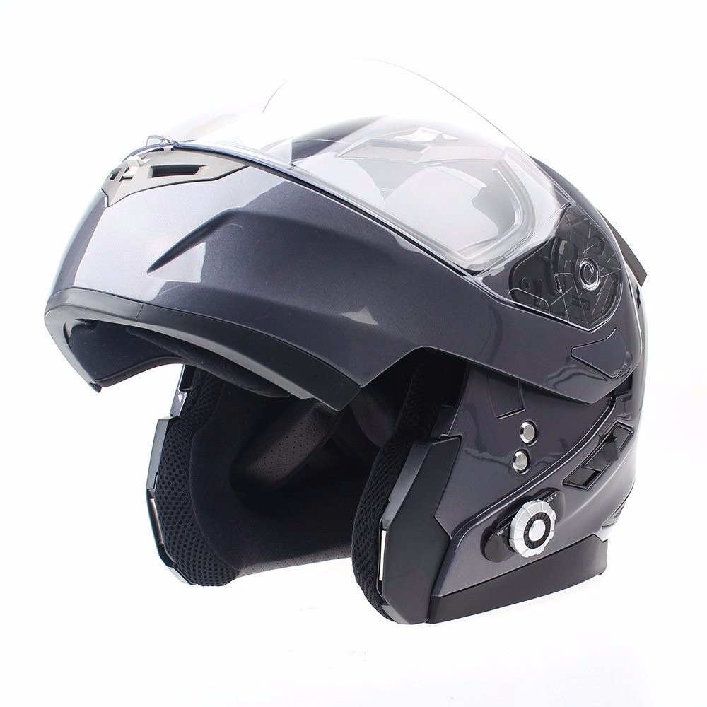 Casco Para Moto Freedconn Visor Dual Bluetooth Gris Grande
