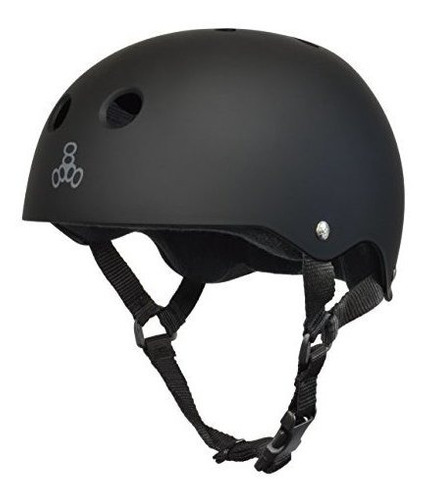 casco para skateboard triple 8, caucho negro /negro, medio