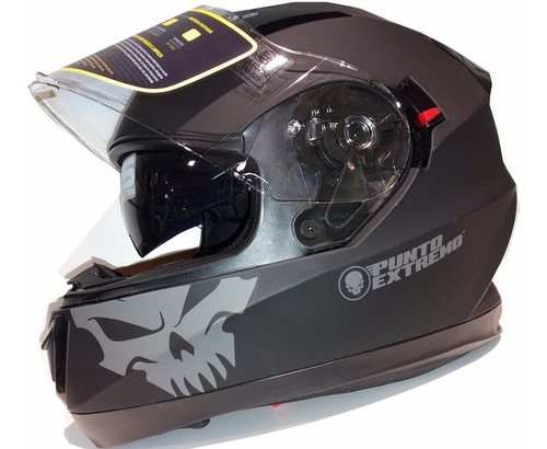casco pista doble visor punto extremo xr600 negro mate 2019