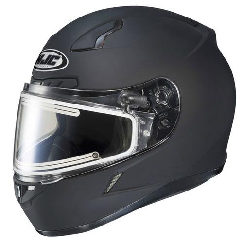 casco p/nieve hjc cl-17 sólido c/escudo sin marco negro lg