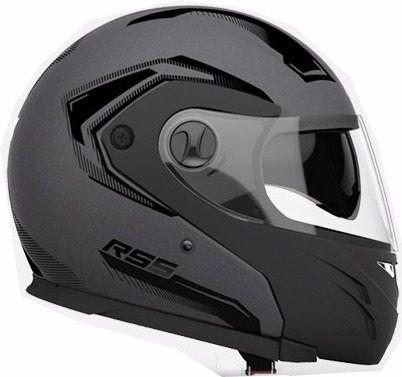 casco rebatible rs5 vector doble visor 2017 negro mate - fas