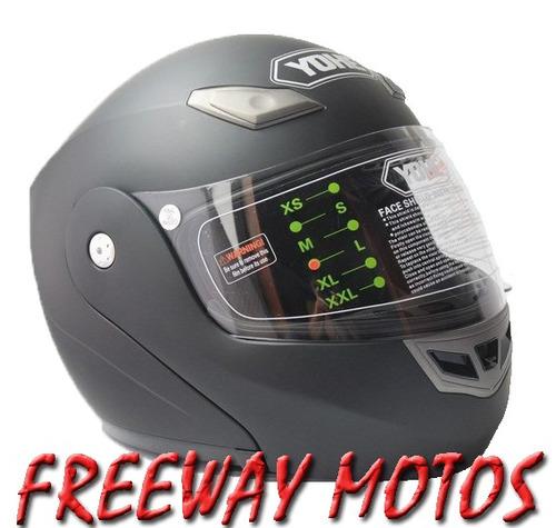 casco rebatible yohe negro muy buena calidad freeway motos