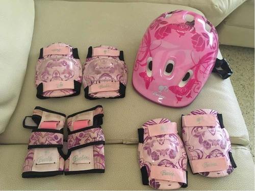 casco, rodilleras, coderas y muñequeras para niñas
