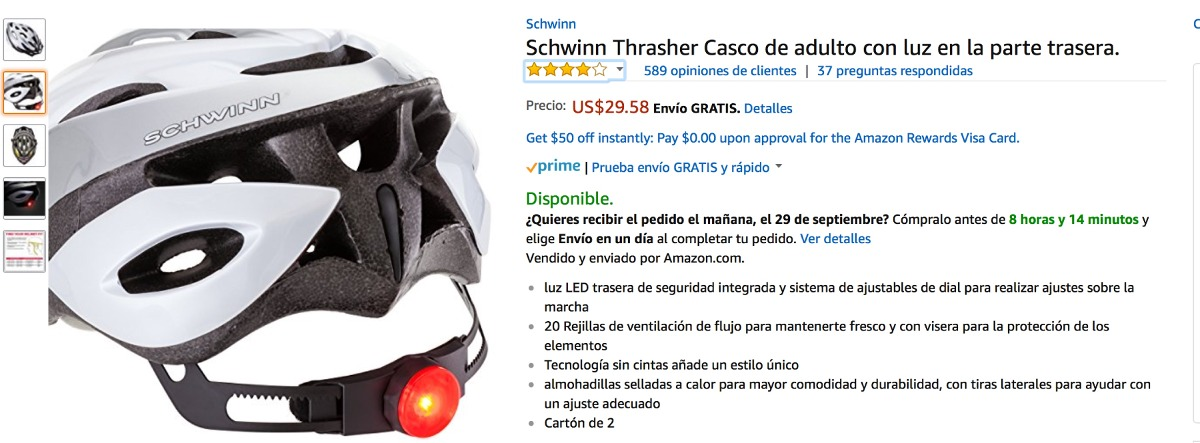 Casco Schwinn Con Luz Led Trasera - Bs. 200,00 en Mercado Libre