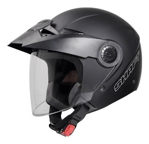 casco shaft 211 abierto 3/4 negro mate con visor certificado
