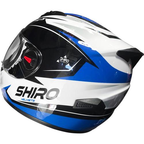 casco shiro sh 821 kevin rojo azul amarillo 2018 - fas motos