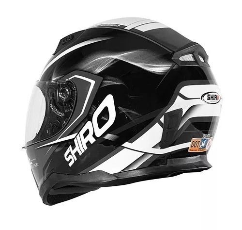 1ef98942 Casco Shiro Sh-881 Negro Y Blanco Jc Repuestos - $ 5.500,00 en ...
