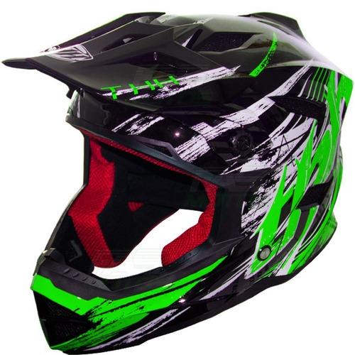 casco thh downhill bicicleta niño t42 verde solomototeam