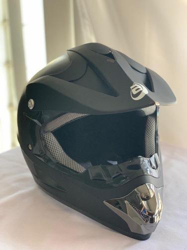 casco tipo cross bmx mtb negro mate dot con goggles
