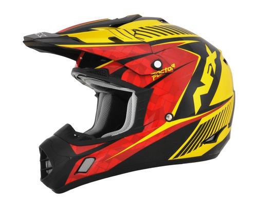 casco todoterreno afx fx-17 factor complex rojo/amarillo lg