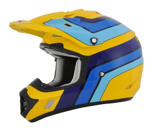 casco todoterreno afx fx-17 vintage amarillo/azul/negro md