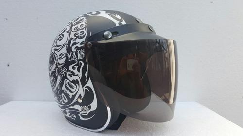 casco torc  abierto + mica abatible humo rider one