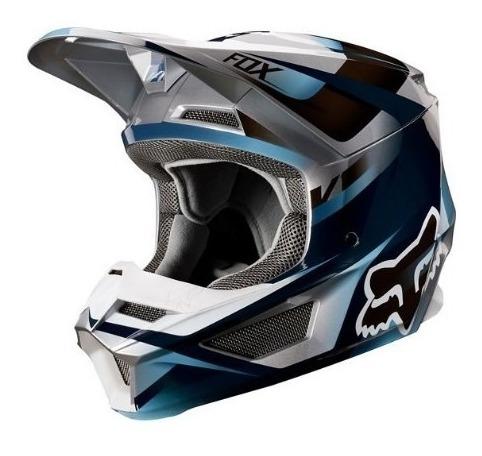 casco v1 motif azul motocross visera magnetica fox