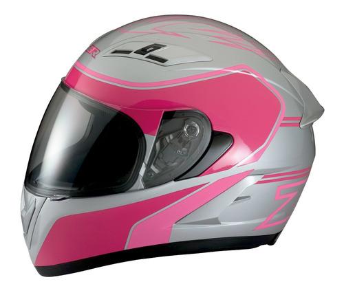 casco z1r strike ops de calle plateado/rosa sm