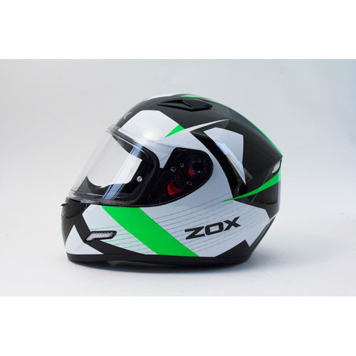 casco zox galaxy ray rostro completo verde reflectante xs