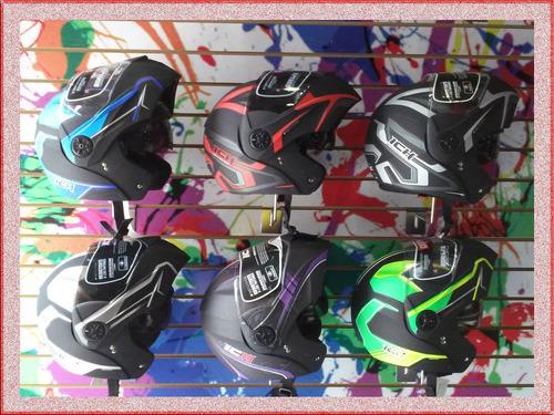 cascos moto abatible doble visor + chaleco reflectivo gratis
