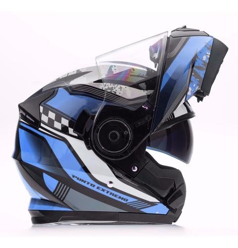 cascos rebatible punto extremo doble visor xr650 azul negro