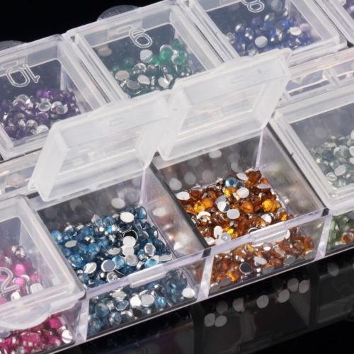 case 2400 pedras meia perola 12cores 3d nail art stras decor