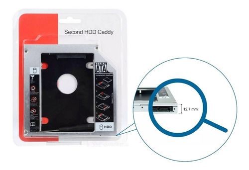 case adapta caddy 2º hd ssd/dvd p/notebook 12mm 12,7mm