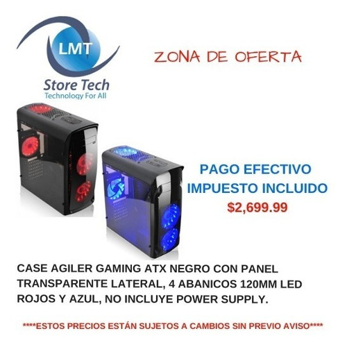 case agiler gaming atx negro con panel transparente lateral,