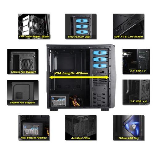 case antryx xtreme series aenic c/ventana, fuente b450w