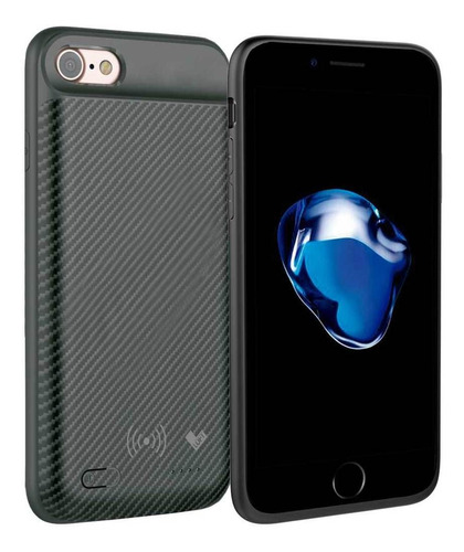 case bateria carbon wireless capa iphone 7 2500 mah preto