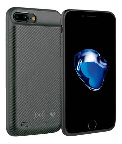 case bateria carbon wireless iphone 7 plus 3650 mah preto