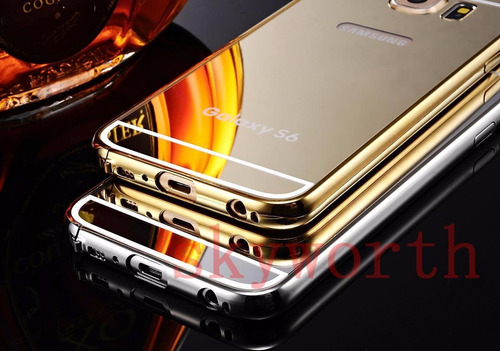 case bumper espejo+vidrio templado samsung s6 j5 j7 2015-16