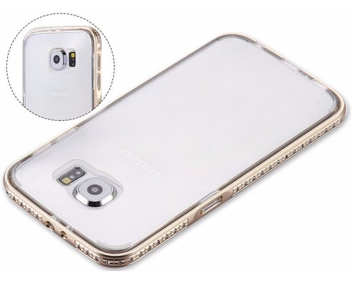 case bumper tpu aluminio con  diamantes de lujo galaxy s6