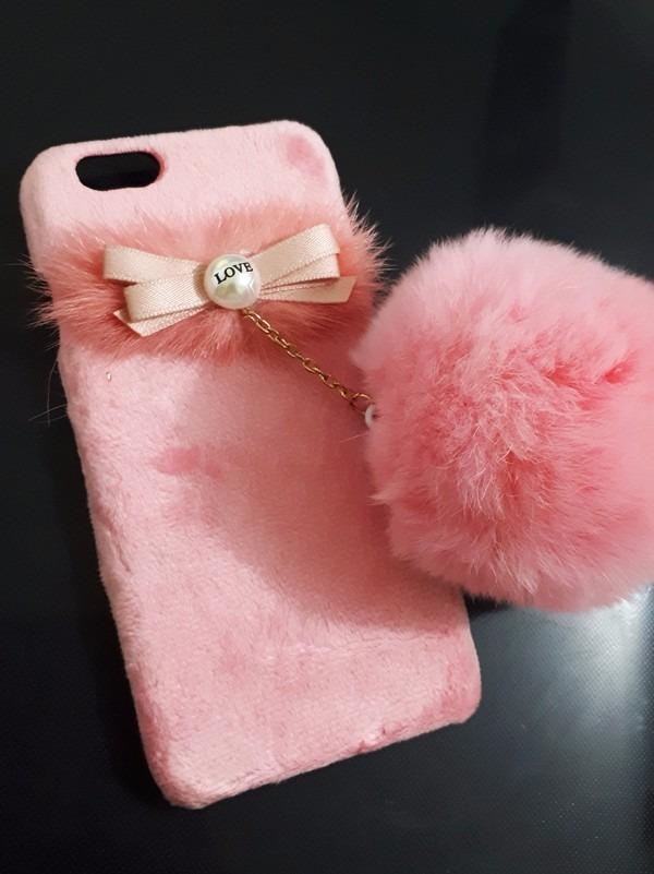 Case Capa Capinha iPhone 6 Pom Pom Pelucia Luxo Perola - R$ 28,99 em Mercado Livre