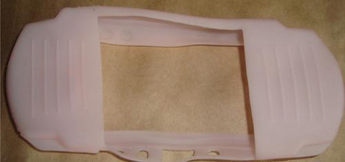 case de silicone rosa para psp slim - nova