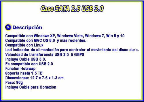 case enclosure disco duro 2.5  laptop usb incluye iva