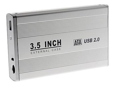 case enclosure usb 2.0 externo disco 3.5'' pc sata aluminio