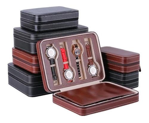 case estojo maleta para 8 relógios marrom
