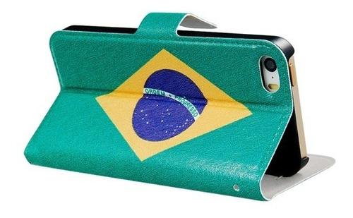 case flip brasil 2014 para iphone 5g e 5gs + película grátis