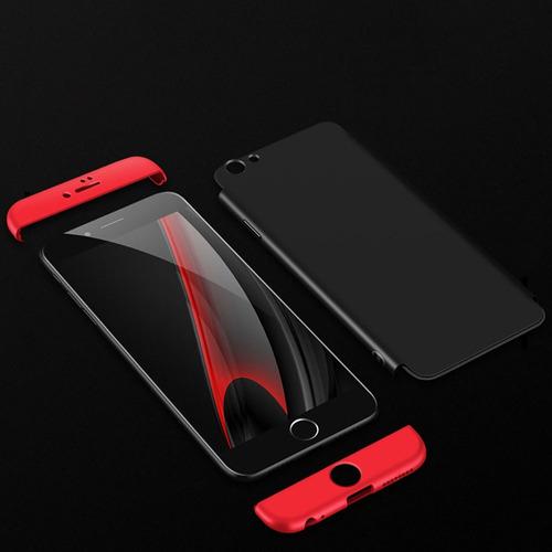 case funda iphone 6 6s 7 8 y plus 360 negro-rojo protector